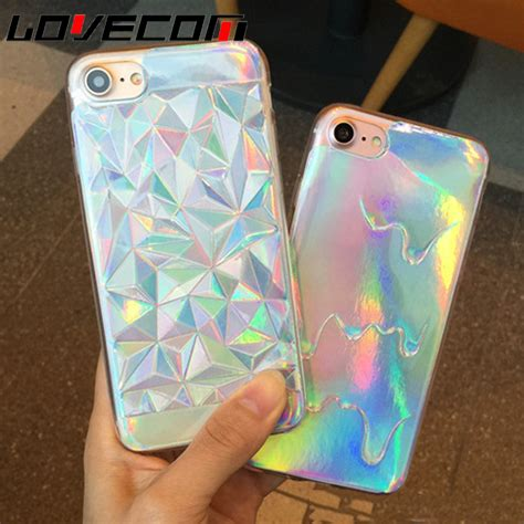 Iphone 7 Plus Soft Pastel Casing Silikon Cover Armor lovecom for iphone 5 5s se 6 6s 7 plus phone luxury bright hologram iridescent triangle