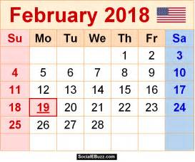 february 2018 calendar printable template pdf with