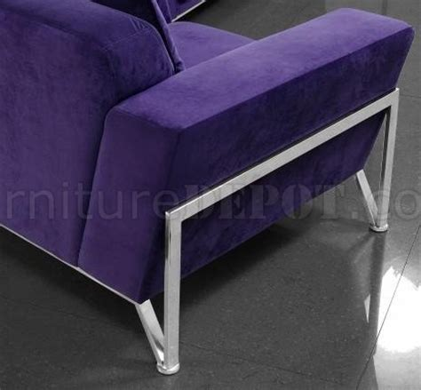 purple microfiber couch vogue sofa chair 2pc set in purple microfiber by vig