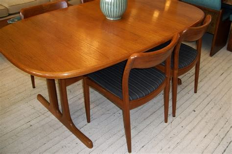 scan solid teak dining room table  chairs  orange moon uber hip vintage furniture