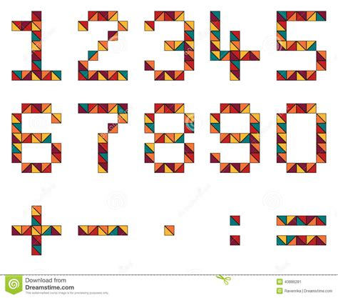 geometric pattern numbers set of numbers and math symbols in geometric style made of