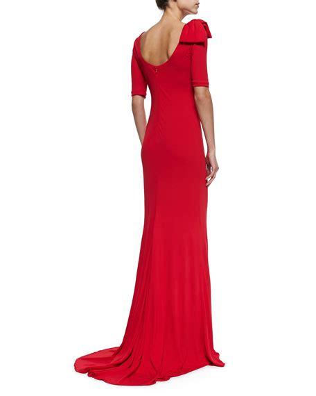 Wst 7760 One Sleeve Mermaid Maxi Dress badgley mischka half sleeve gown with bow shoulder