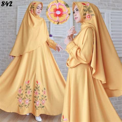 Iliana Set Gamis Kuning Fit Xl Murah gamis syari baloteli bordir c842 baju muslim terbaru