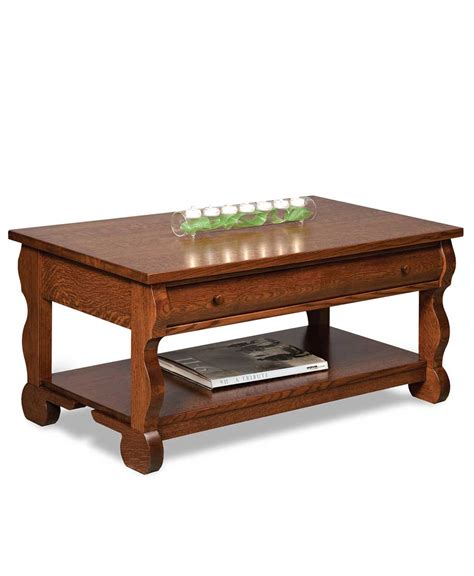 classic sleigh open coffee table with drawer amish