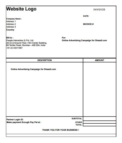 Free Simple Invoice Template Pdf Hardhost Info Easy Templates