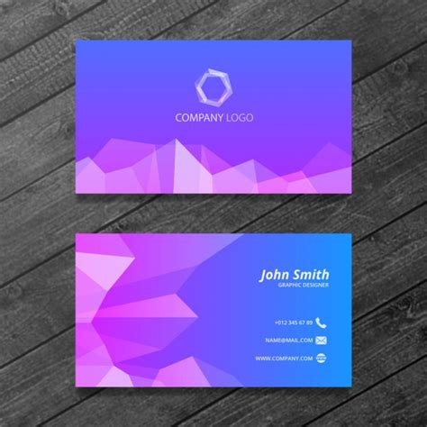 purple business card template polygonal business card psd file free