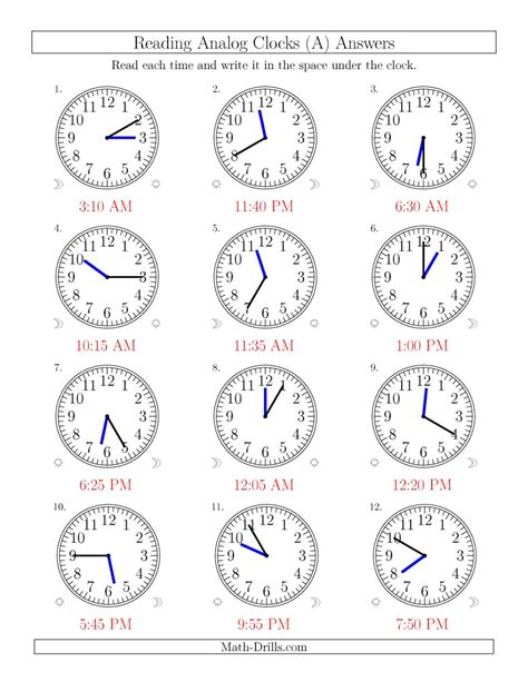 worksheet clock reading reading time on 12 hour analog clocks in 5 minute