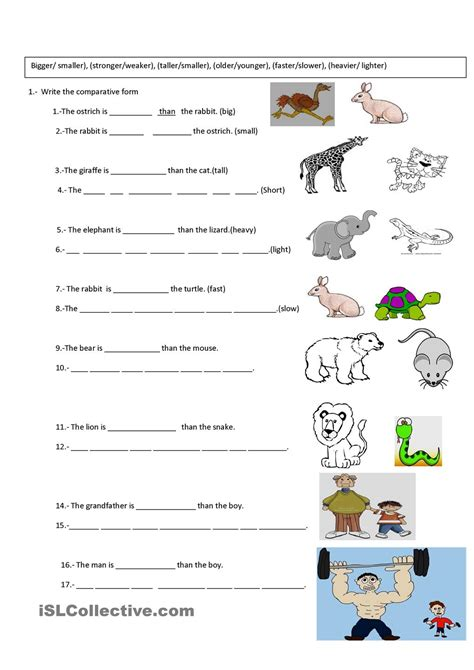 Exercise Worksheets by Comparative Exercise For