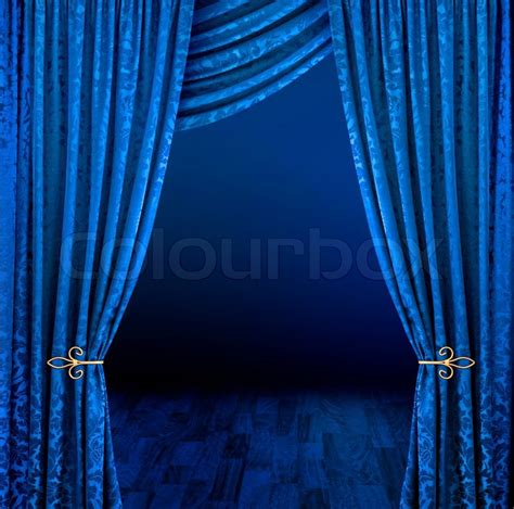 blue stage curtains open stock photo colourbox