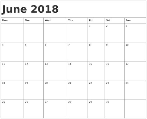 printable monthly calendar starting monday june 2018 calendar template