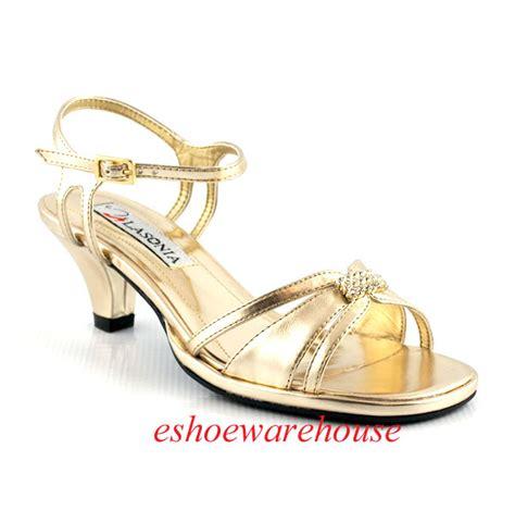 gold metallic low comfy mid heel dress rhinestone sandals