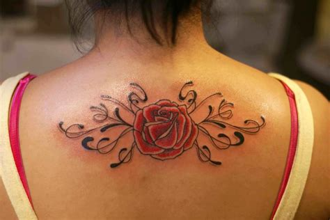 rose tattoo on the back on back wallpapers and images wallpapers
