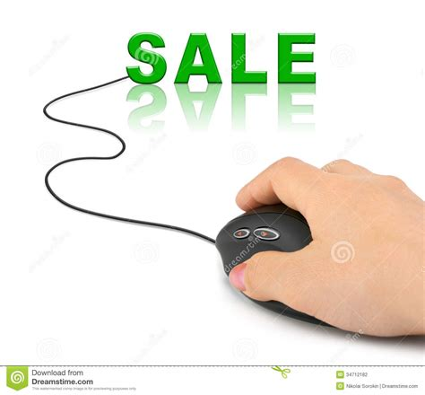 Hand With Computer Mouse And Word Sale Stock Photography Desk Top Computers For Sale