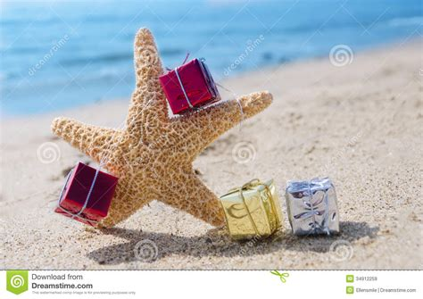 starfish with gifts by the ocean stock image image 34912259