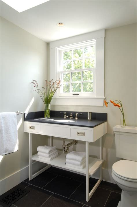 exterior window trim ideas Bathroom Contemporary with bathroom window black countertop