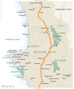 map of coast cities accommodation in cape west coast