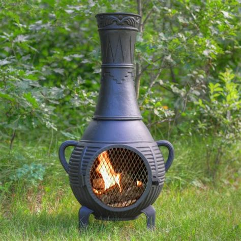 chiminea woodies the blue rooster co pine style cast aluminum wood burning