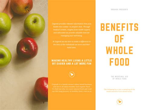nutrition wellness fruit tri fold brochure templates by
