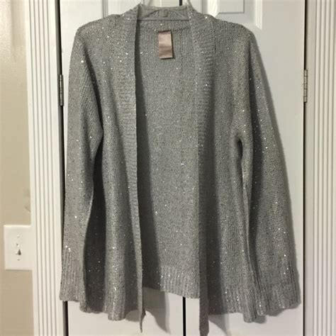 white and silver ls white stag light grey silver ls sequin cardigan from