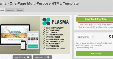 themeforest free html templates free themeforest theme plasma one page multi