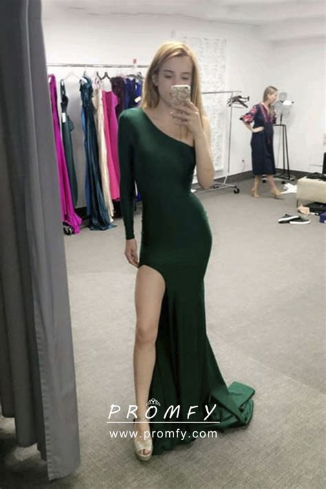 emerald green sleek satin  sleeve thigh high slit long