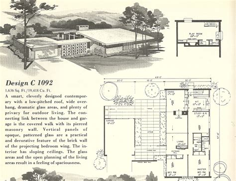 Mid Century House Plans by Vintage House Plans 1092 Antique Alter Ego