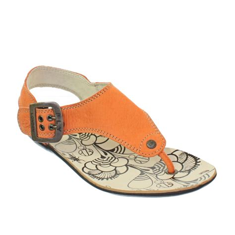 orange sandals for womens fly melt orange leather toe post flat
