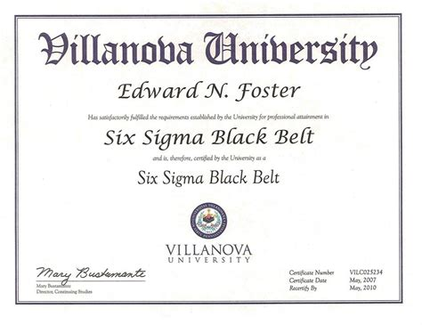 six sigma black belt certificate template credentials edward n foster richmond va