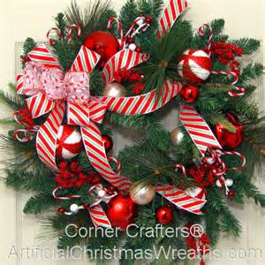 Christmas candy cane wreath artificialchristmaswreaths com holiday