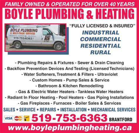 Plumbing Repair Ontario Ca by Boyle Plumbing Heating Co Ltd Opening Hours 118