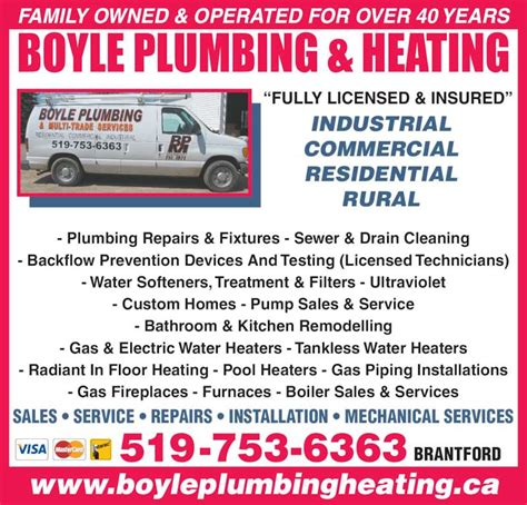 Boyle Plumbing by Boyle Plumbing Heating Co Ltd Brantford On 118 Cockshutt Rd Canpages
