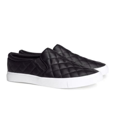Flat Shoes Kanvas Ppyong Black And White shoes quilted slip on canvas flats canvas shoes
