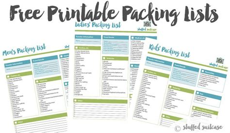 Packing List Template Printable Stuffed Suitcase Travel Packing List Template Excel