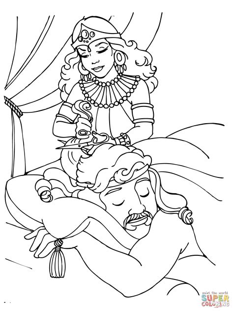 hair coloring pages free delilah cutting samson s hair coloring page free