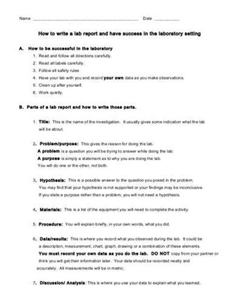 Discussion In Lab Report Sample How To Write A Lab Report Ehow
