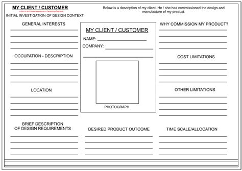 client customer profile sheet