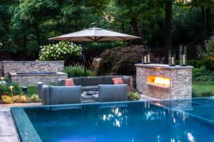 swimming pool landscape design vanishing edge pool patio fireplace modern pool new