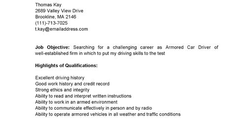 Armored Driver Sle Resume by Driver Resumes Armored Car Driver Resume Sle