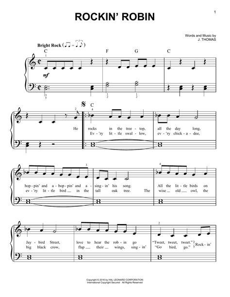 printable lyrics to rockin robin rockin robin sheet music by michael jackson easy piano