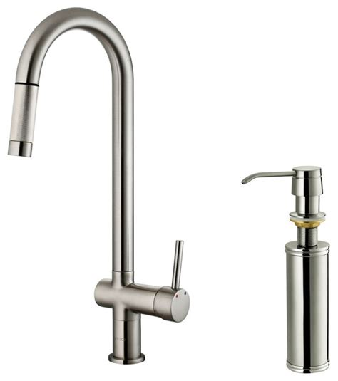 contemporary kitchen faucets vigo stainless steel pull out spray kitchen faucet with soap dispenser contemporary kitchen