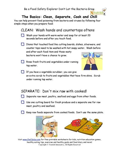 Food Safety Worksheets by The Gallery For Gt Kitchen Safety For Worksheets