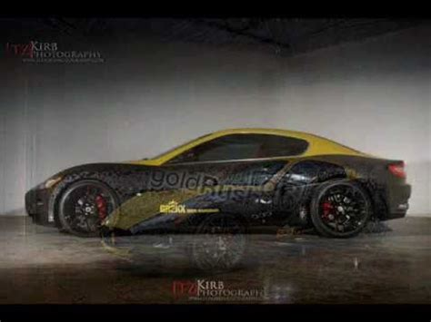 black and gold maserati maserati gt two tone livery wrap in gold black matte