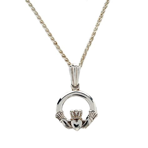baby white gold claddagh pendant celtic necklaces
