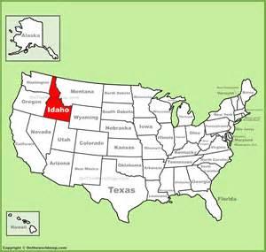united states map idaho idaho location on the u s map