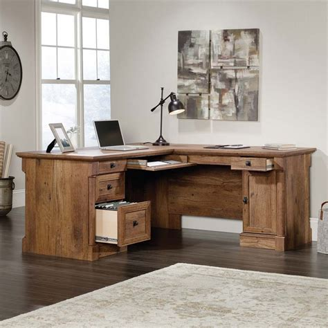 Sauder Palladia L Shaped Computer Desk In Vintage Oak 420606