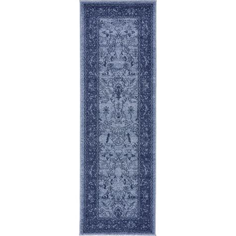 blue rugs 6 unique loom vintage la jolla blue 2 ft x 6 ft runner rug 3133375 the home depot