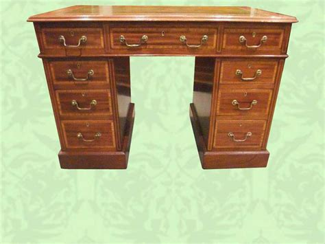 Small Pedestal Desk Edwardian Inlaid Mahogany Small Pedestal Desk Now Sold Hingstons Antiques Dealers