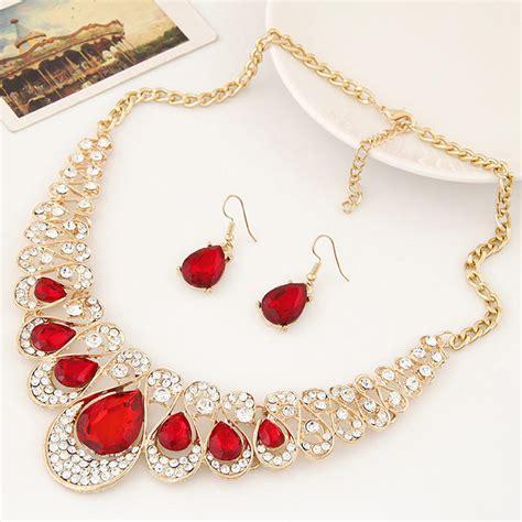 Pendant Statement Necklace Earrings Accessories large statement bib pendant necklace jewelry rhinestone necklace earrings set 2016