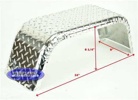aluminum diamond plate boat trailer fender single 8 x 24 x - Diamond Plate Boat Trailer Fenders