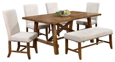 yosemite honey walnut 6 piece dining room set transitional dining table sets by furniture